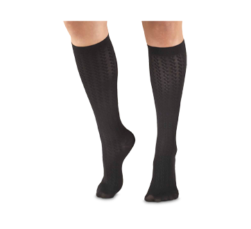 Image of product Truform - Compression Hosiery 15-20 mmhg, Cable, X-Large, Black