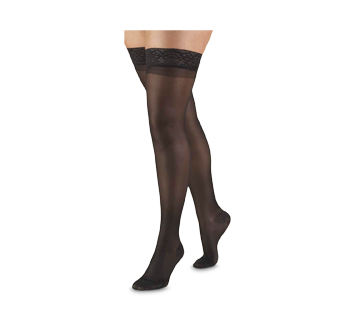 Image of product Truform - Compression Hosiery 15-20 mmhg, Thigh Length, Small, Black