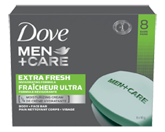 Image of product Dove Men + Care - Extra Fresh Invigorating Formula Body and Face Bar, 8 X 90 g