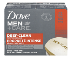 Image of product Dove Men + Care - Deep Clean Purifying Grains Body and Face Bar, 8 X 90 g