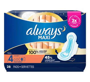 Maxi Overnight Pads with Wings, 28 units, Size 4