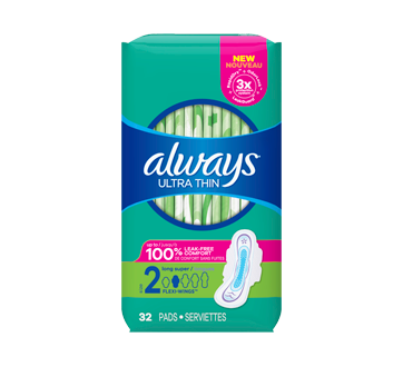 Ultra Thin Pads With Wings, Size 2, Unscented, 32 units, Super