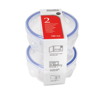 Reusable Food Storage Containers with Lids, 180 ml, 2 units