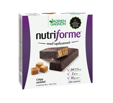 Image of product Adrien Gagnon - Nutriforme Meal Replacement Bars, 5 x 65 g, Caramel Crunch