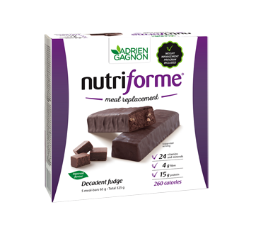 Image of product Adrien Gagnon - Nutriforme Meal Replacement Bars, 5 x 65 g, Decadent Fudge