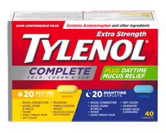 Image of product Tylenol - TylenolComplete Cold, Cough & Flu Daytime/Nighttime Formula Extra Strength Caplets, 40 units