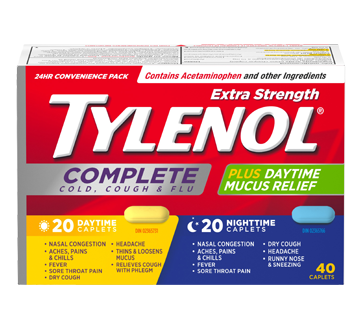 Image 1 of product Tylenol - TylenolComplete Cold, Cough & Flu Daytime/Nighttime Formula Extra Strength Caplets, 40 units