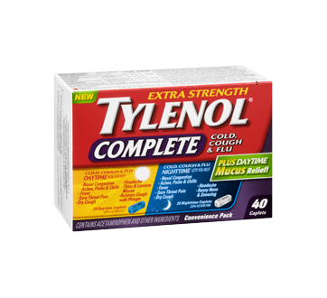 Image 2 of product Tylenol - TylenolComplete Cold, Cough & Flu Daytime/Nighttime Formula Extra Strength Caplets, 40 units