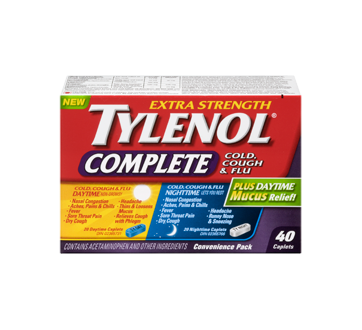 Image 3 of product Tylenol - TylenolComplete Cold, Cough & Flu Daytime/Nighttime Formula Extra Strength Caplets, 40 units