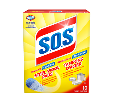 Image of product S.O.S - Steel Wool Soap Pads, 10 units