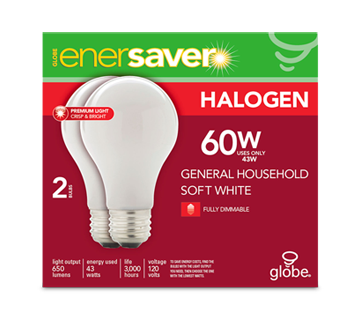 Halogen Light Bulb, 2 units, 650 lumens, 3,000 hours life