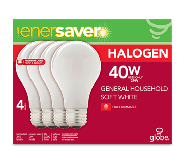 Halogen Light Bulb, 4 units, 345 lumens, 3,000 life hours, dimmable