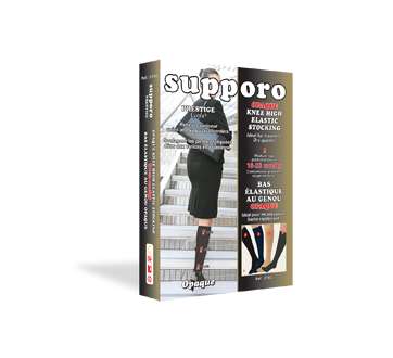 Image of product Supporo - Knee High Opaque Stocking, 16-20 mmhg, Medium, 1 unit, Black