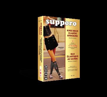 Image of product Supporo - Knee High Elastic Stocking for Women, 12-16 mmhg, Medium, 1 unit, Black