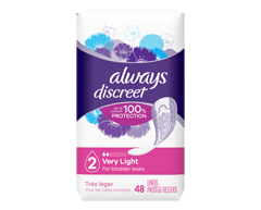 Image of product Always - Discreet Incontinence Liners, Very Light Absorbency, 48 units, Regular Length