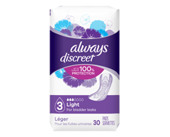 Image of product Always - Discreet Incontinence Liners, Ultra Thin, 30 units, Regular Length
