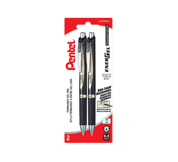 EnerGel Permanent Gel Pen (0.5 mm), 2 units, Black
