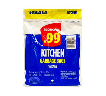Kitchen Garbage Bags, 16 units