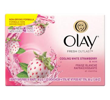 Fresh Outlast Beauty Bar, 4 x 90 g, Cooling White Strawberry & Mint