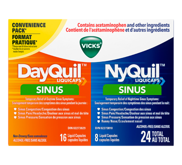 Image of product Vicks - DayQuil + NyQuil Sinus liquid Capsules, 24 units