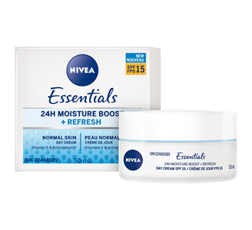 Image 3 of product Nivea - Essentials 24H Moisture Boost + Refresh Day Cream SPF 15, 50 ml, Normal Skin