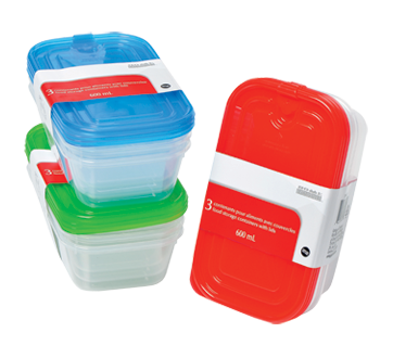 Food Storage Containers with Lids, 3 x 600 ml