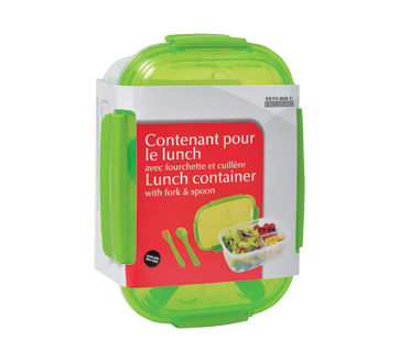Lunch Container with Fork & Spoon, 1 unit, Rectangular