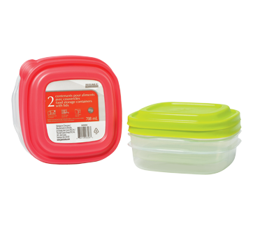 Food Storage Containers with Lids, 2 x 708 ml
