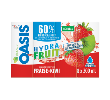 Hydrafruit Fruit Juice, 8 x 200 ml, Strawberry-Kiwi