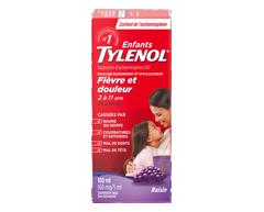 Image of product Tylenol - Tylenol Children's Acetaminophen Suspension Liquid, 100 ml, Grape