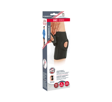 Adjustable Knee Support, 1 unit, Small/Medium, 33 - 41 cm, Black