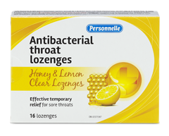 Image of product Personnelle - Antibacterial Throat Lozenges, 16 units, Honey & Lemon