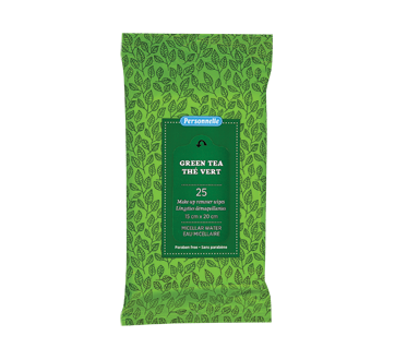 Make-up Remover Wipes Micellar Water, Green Tea, 25 units