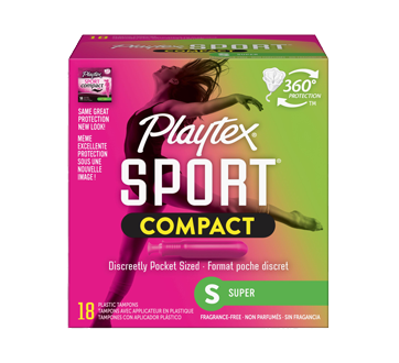 Sport Compact Athletic Tampons, Uncented, Super , 18 units