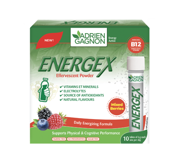 Image of product Adrien Gagnon - Energex Effervescent Powder, 10 x 6 g, Mixed Berries