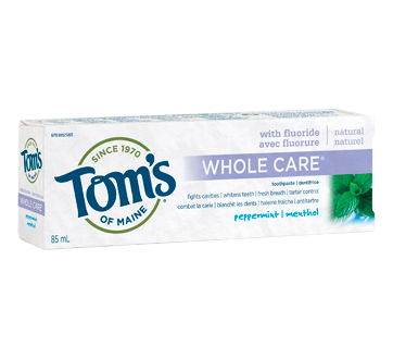 Whole Care Fluoride Natural Toothpaste, 85 ml, Peppermint