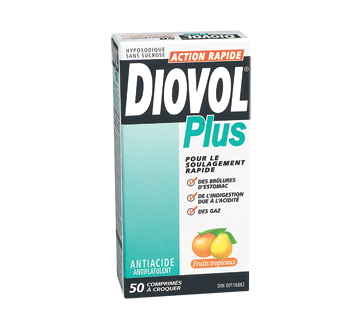 Image of product Diovol - Diovol Plus Free Antiacid & Antiflatulent Chewable Tablets, 50 units, Tropical Fruits