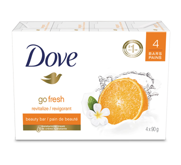 Image of product Dove - Go Fresh With Mandarin and Tiaré Flower Beauty Bar, 4 x 90 g