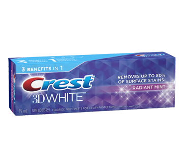 3D White Whitening Toothpaste, 75 ml, Radiant Mint