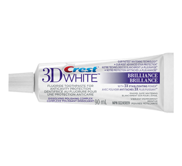 3D White Brilliance Whitening Toothpaste, 90 ml, Vibrant Peppermint
