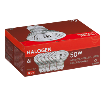 Halogen Light Bulbs 50 W, 6 units, Clear