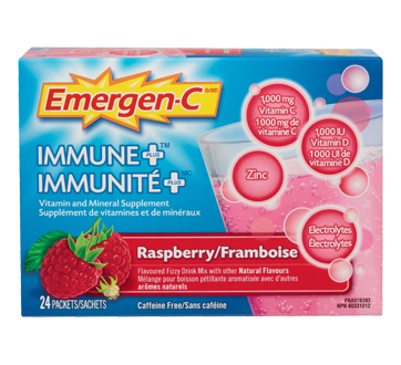 Image of product Emergen-C - Emergen-C Immune Plus Vitamin and Mineral Supplement Effervescent Powder, 24 units, Raspberry