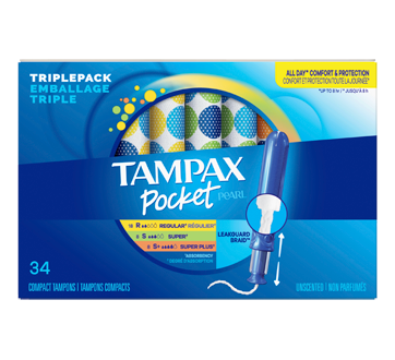 Tampax Pocket Pearl Triplepack Plastic Tampons Unscented, 34 units