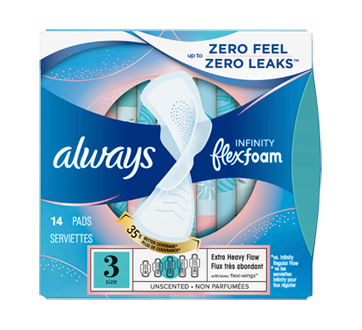 Infinity Extra Heavy Flow Pads with Wings, 14 units, Size 3, Unscented