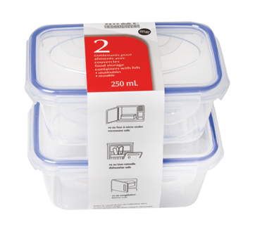 Reusable Food Storage Containers with Lids, 250 ml, 2 units