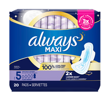 Maxi Extra Heavy Overnight Pads with Wings, 20 units, Size 5