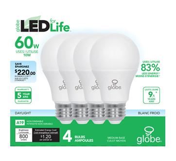 LED Bulbs 60W A19 , 4 units, Daylight