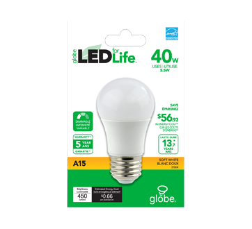 Image 2 of product Globe Electric - LED Bulb 40W A15, 1 unit, Warm White
