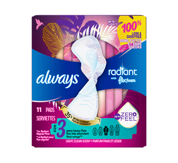 Radiant Pads for Extra Heavy Flow, 11 units, Size 3, Light Clean Scent
