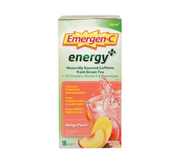 Image of product Emergen-C - Energy+ Vitamin & Mineral Fizzy Drink Mix Supplement, 18 units, Mango Peach